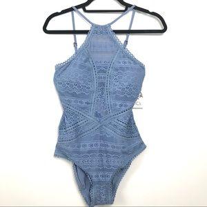 NWT Becca Blue Crochet / Lace Bathing Suit